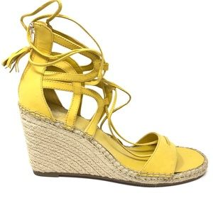 Vince Camuto Sz 11 Tannon Wedge Sandals Yellow